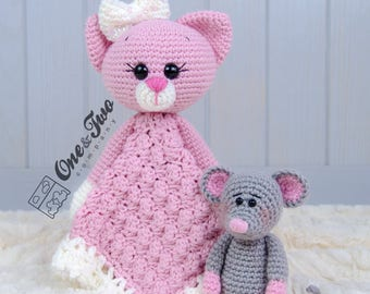 Kissie the Kitty and Skip the Little Mouse Lovey / Security Blanket - PDF Crochet Pattern - Instant Download - Blankie Baby Blanket