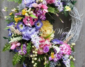 Spring Wreath, Easter Wreath, Summer Wreath, Designer Floral Wreath, Victorian Garden Wreath, Country French Wreath, Elegant Spring Wreath