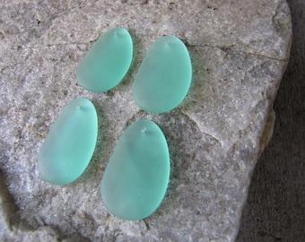 Sea glass pendant beads mint green beach glass jewelry making supply