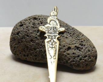 Vintage Mid Century Solid Brass Peter Rabbit Letter Opener Knife
