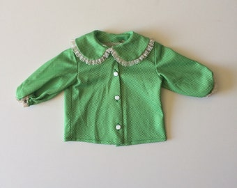 Vintage Polyester Apple Button Top