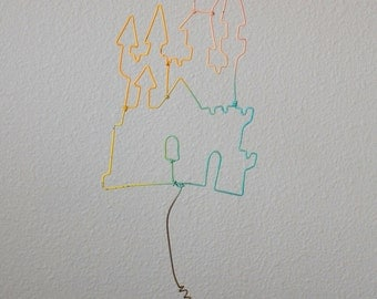 Vintage whimsical wire castle in the sky sculpture