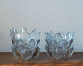 Vintage BLENKO clear glass petal bowls SET of 6