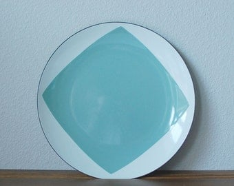 "Cathrineholm Seafoam green White Draped square diamond tent pattern 10"" plate  RARE  Mid century modern enamel charger"