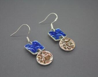 Fused Glass Jewelry, Enamel Jewelry, Enamel Earring, Colorful Jewelry, Glass Jewelry, Glass Earring, Enameled Earring, Enamel, Dangle Ear