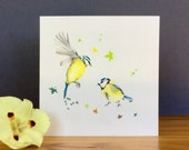Bird card, blue tit, greeting card, note card, gift idea, hand made card