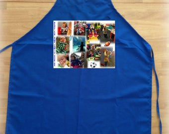 2 Photo Aprons - Matching adult and child with the same 8 in x 10.5 in Photo Collage with up to 8 photos on each apron.