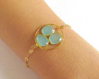 Triple Aqua Chalcedony Gold Bracelet - Gold Bracelet - Gemstone Bracelet