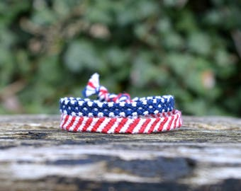 Friendship bracelet Patriotic double red white blue stars and stripes US flag (Ready to ship)