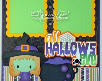 Halloween Witch Premade Scrapbook Page 12x12 Layout Paper Piecing Handmade 15