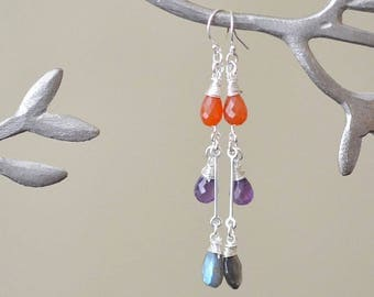 Long Earrings, Multi Stone Earrings, Amethyst Earrings, Labradorite Earrings, Carnelian Earrings