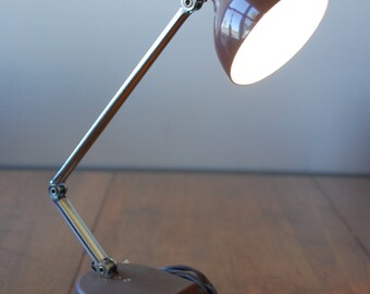 Vintage Brown MOBILITE Desk Lamp - HI - LO setting - folding arm - Industrial