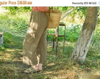 SALE Brown Linen Pants Summer Pants Vintage 80's