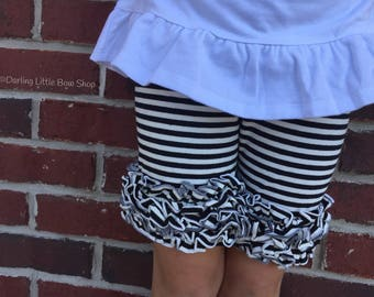 Black and White Ruffle Shorts, Black Striped Ruffle Shorts -- black and white striped ruffle shorties size 12m to girls 6
