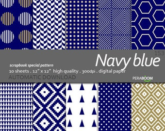 Navy Blue Digital Paper Pack, Navy Blue paper, Geometric Printable Papers Scrapbooking, Cards, Small commercial Use, Boy's, Man's, Father