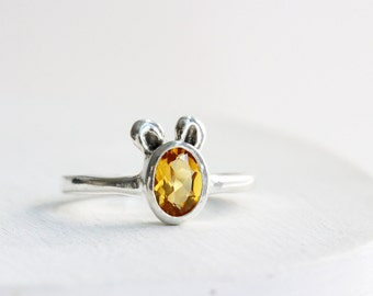 Mouse Ring, Citrine and Sterling Silver, MADE TO ORDER, Mouse Fine Jewelry