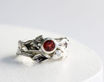 Garnet,White Sapphire Engagement Ring Set, Silver Twig Rings, Leaf Ring, January Birthstone Nature Rings