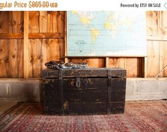 HOLIDAY SALE 10% OFF Antique Primitive Black Wooden Trunk