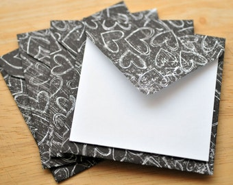 Black & White Heart Mini Cards // Set of 4 // Blank Cards // Enclosure Cards // Love Note // Valentine's Day Card // Srapbbooking