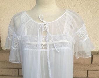 Vintage 60s 70s White Chiffon Lace Nightgown & Robe Peignoir Set S-M