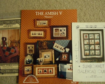 Amish craft patterns:  Amish doll and quilt, The Amish V Miniatures and Amish Sunbonnet calendar Quilt   All complete  1980's