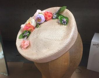 Pink Parasisal Straw Tilt Hat Easter Bonnet.  Pork Pie, Cocktail Hat, Pillbox Hat, Kentucky Derby, Easter Bonnet, Tea Party Hat, Facinator
