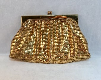 Vintage Gold Mesh Clutch Purse by Whiting & Davis Company Bags, Made in USA, 4.25 Inches Tall 7 Inches Wide