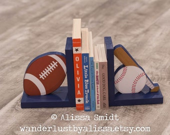 Baseball and Football Bookends - Custom Created to Coordinate with Your Decor or Nursery Letters (sports, baseball, football, navy blue)
