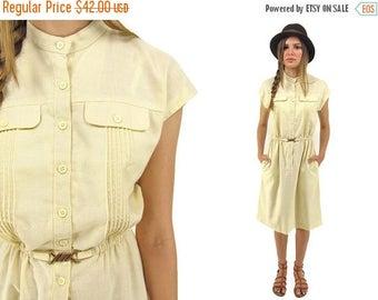 On Sale - Vintage 70s Shirt Dress, Boho Dress, Secretary Dress, Linen Dress, 70s Dress Δ size: sm / md