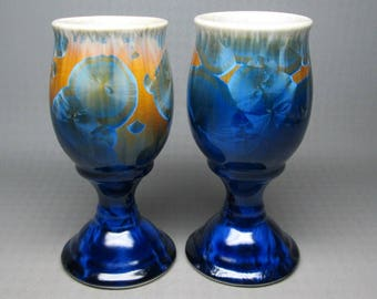 Bill Campbell studio pottery set of two ( 2 ) crystalline pottery wine glass / goblets , not marked