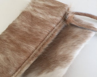 Fold over Clutch Hobo Boho Cow Hide Hair on Hide zipper pouch unique holiday gift