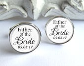 Father Of The Bride Cufflinks, Wedding Cufflinks, Personalized With Date