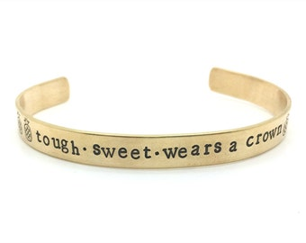 pinapple bracelet, tough sweet wears a crown, hand stamped jewelry, gold, inspirational, gift, for her, graduation gift, fruit