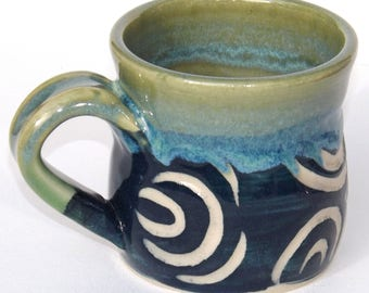 Hand Carved funky Coffee cup Blue