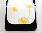 Medium Crossbody Bag Shoulder Purse Sling Bag Hobo Bag Cross Body Bag - Yellow Dandelion and Black Crossbody Bag - Ready to Ship