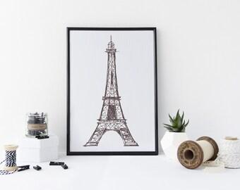 Eiffel Tower Art Print, art print, france, paris, eiffel tower, ideal gift
