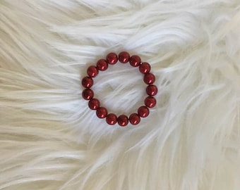 Newborn Pearl Bracelet, Sweetest Deep Red Pearl Bracelet, Newborn Photography Prop, Newborn Bracelet, Baby Bracelet, Perfect For Holidays