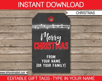 Chalkboard Christmas Gift Tags - Christmas Gift Tags - Merry Christmas Gift Tags - Printable Gift Tags -  INSTANT DOWNLOAD - EDITABLE text