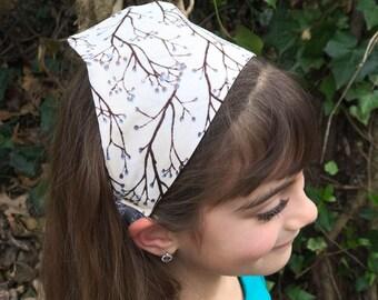 Girls Head Scarf Bandana - Tree Branches Flowers Hair Scarf Headband