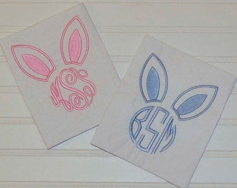 Easter Shirt, Bunny Ears monogram, many colors...6m,12m,18m,2t,3t,4t,5/6