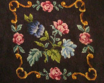 Large Vintage Needlepoint with Roses for Chair Seat or Pillow