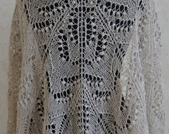 Hand knit lace shawl , tan, light brown, beige lace shawl,  READY TO ship
