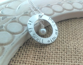 It is well with my soul necklace,  It is well hand stamped necklace, it is well jewelry, religous it is well, hymn it is well, hymn lyrics