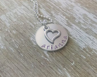 Childs name necklace, stamped name jewelry, name necklace, childrens name necklace, name jewelry