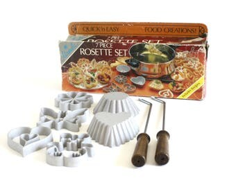 Rosette Mold Timbale Iron Waffle Shell Maker, Ursula Kalkus Hirco Patty Mold Set