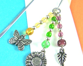Bookmark - Spring Garden with Butterfly, Leaf, & Flower Silver Plated Pewter Charms and Glass Beads - Silver Plated Shepherd Hook