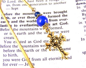 Bible Book Mark - Brass Plated Pewter Cross / Blue Stone & Brass Beads - Brass Plated Page Marker