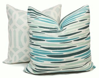 Decorative Pillow Cover Lulu DK Island Sea Green 18x18, 20x20 or 22x22 or lumbar pillow, Toss Pillow, Pillow Cushion, Throw Pillow