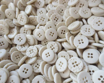 """5/8"""" Ivory Buttons 4 Hole Bulk Plastic Lot 16mm Neutral Stone Look 100 gms"""