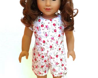 Red Rose tie romper for 18 inch dolls